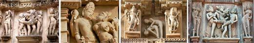 Эротические скульптуры священных храмов в Кхаджурахо - родины Камасутры