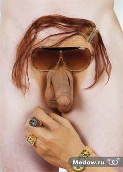 Смешная мужская интимная прическа для члена - Бабуля. Фото прикол 9