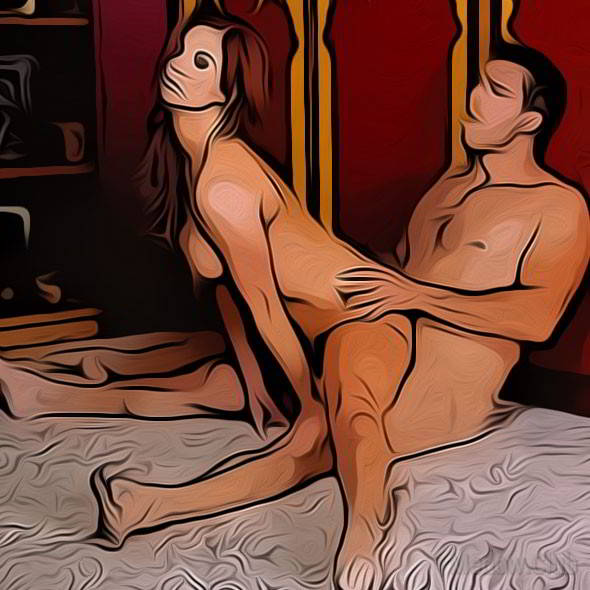 Секс поза 22 - девушка села на шпагат, заодно и на член своего партнера, который сидит под ней.