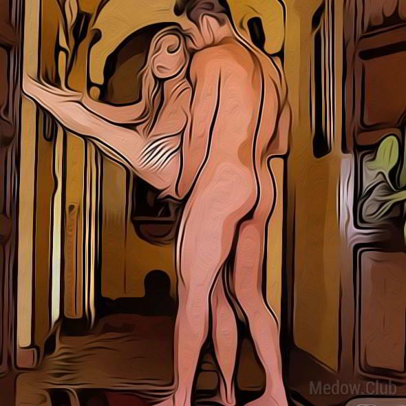 Секс поза 35 - женщина стоит подняв одну ногу вверх и в сторону. Мужчина входит сзади, придерживая ее ногу.