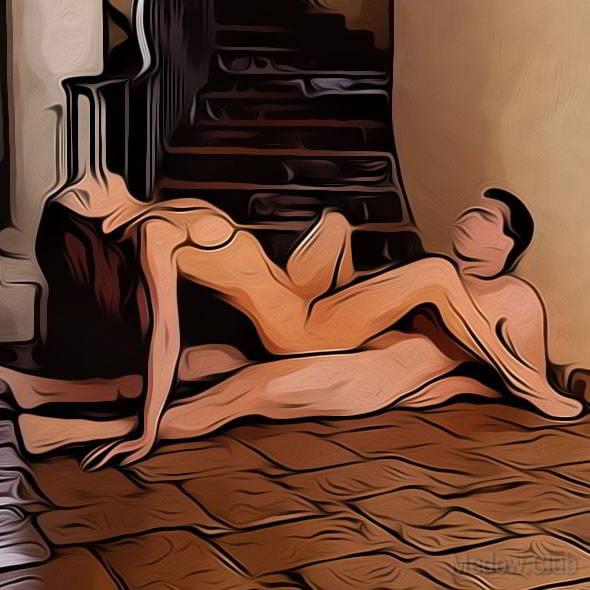 Секс поза 50 - мужчина сидит на полу облокотившись о стену. Девушка садится верхом лицом к нему откинувшись назад.