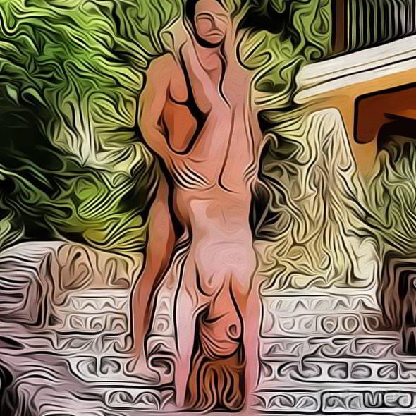 Секс поза 59 - девушка стоит на руках прогнувшись в спине. Мужчина стоит позади нее и входит.