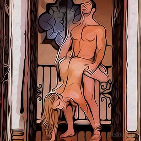 Секс поза 64 - парень стоит, девушка опираясь руками о пол обхватывает его таз ногами и насаживается на его член. Он придерживая партнершу за ягодицы задает темп.