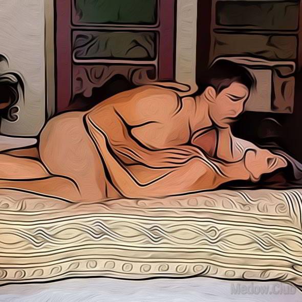Секс поза 66 - женщина лежит на спине, а мужчина верхом, обхватив ее ноги своими ногами.