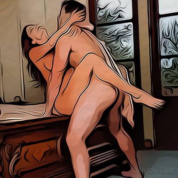 Секс поза 69 - девушка сидит на краю кровати расставив ноги, а парень обнимая ее за спину входит в нее стоя.
