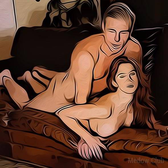 Секс поза 73 - девушка лежит на диване сомкнув ноги вместе, а парень ложится сверху, охватив ее ноги своими.