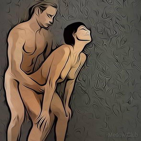 Поза для занятия сексом №32 - Стоя по-собачьи мужчина сзади. Фото