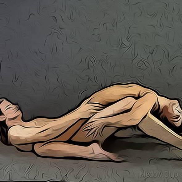 Поза для занятия сексом №44 - Женщина сверху, облакотившись спиной на колени мужчины. Фото