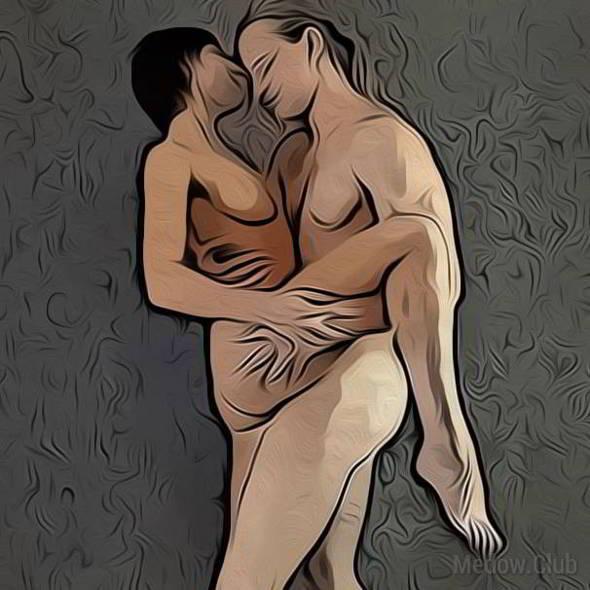 Поза для занятия сексом №47 - Женщина стоя, обнимая мужчину одной нагой. Фото