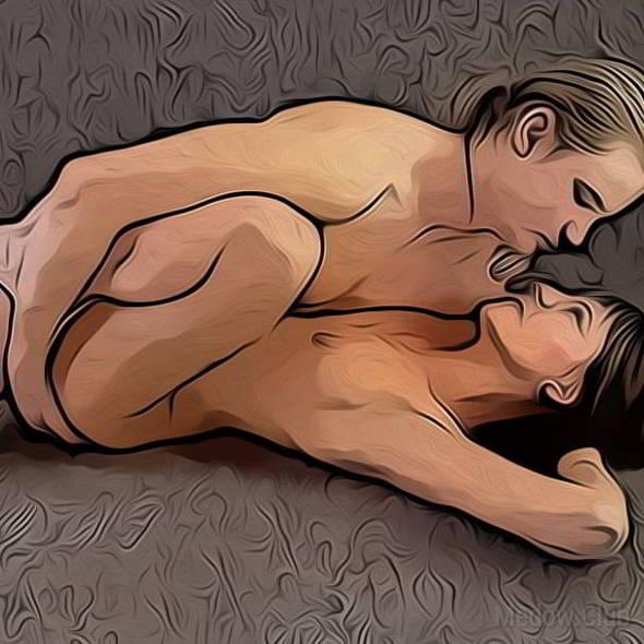 Поза для занятия сексом №5 - Мужчина сверху женщина лежа с подтянутыми ногами. Фото