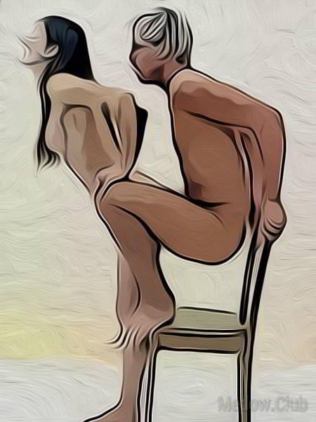 Сексуальная позиции камасутры №47 - Мужчина садиться вприсяди на стул, опираясь сзади на спинку, расставляет ноги. Девушка подходит к нему спиной и позволяет войти в себя сзади. . Фото
