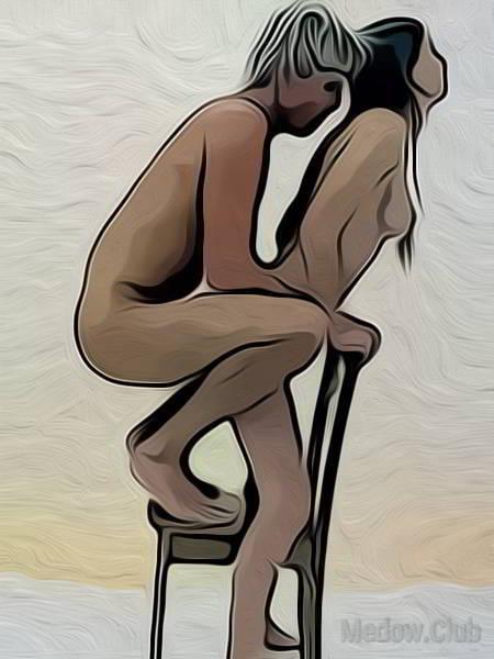 Сексуальная позиции камасутры №48 - Женщина раполагает стул между своих ног и опирается на спинку стулы. Мужчина садиться вприсяди на стул и входит в парнершу сзади. . Фото