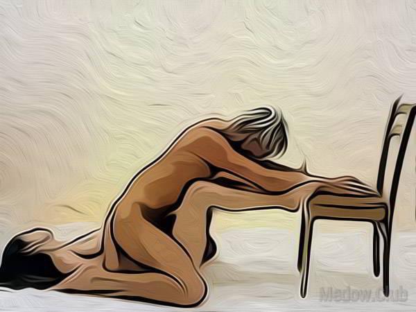 Сексуальная позиции камасутры №52 - Женщина на спине, а мужчина сверху, повернувшись к ней спиной. Фото