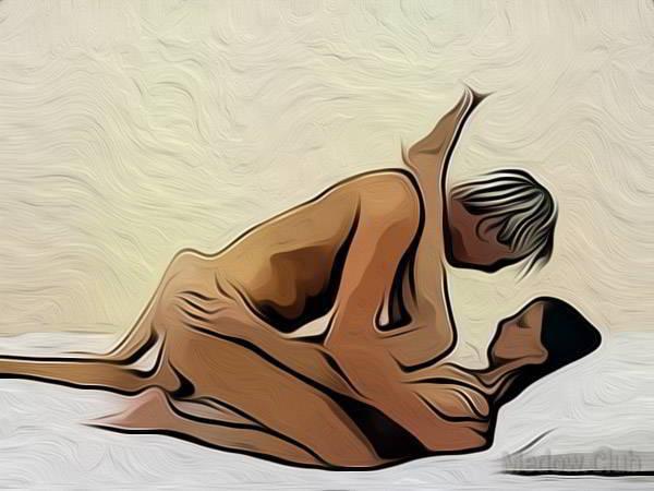 Сексуальная позиции камасутры №54 - Девушка лежит на спине, закинув одну ногу на плече партнера, а другую, отставив в сторону. Мужчина покрывает ее сверху. Фото