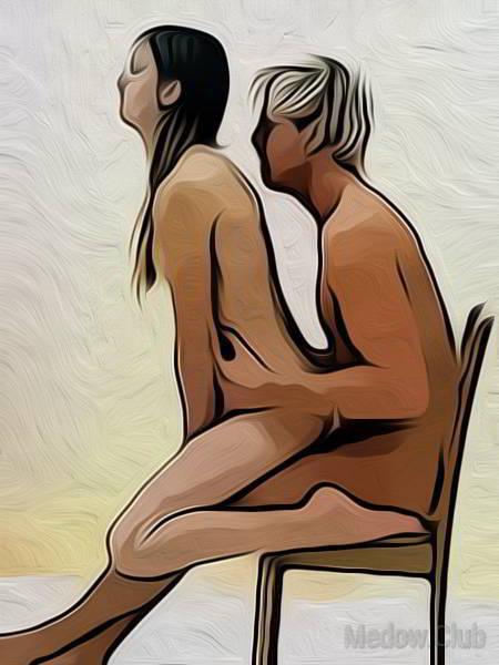 Сексуальная позиции камасутры №55 - Парень сидит на стуле, девушка садиться сверху, положив стопы на стул. Фото