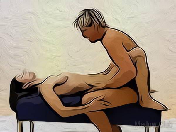 Сексуальная позиции камасутры №58 - Мужчина садиться на пуфик, девушка ложиться перед ним, огибая его ногами. Фото