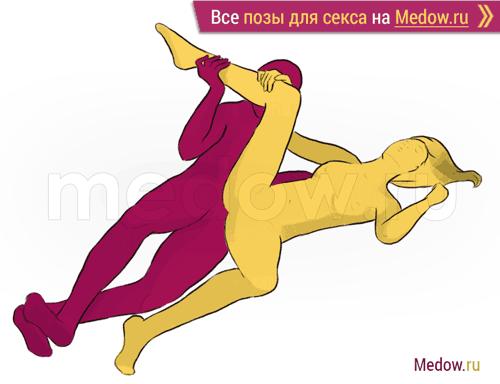 Поза для секса #214 - Единорог (лежа, на боку, крест-накрест). Камасутра Фото, картинки
