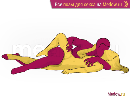 Поза для секса #64 - Танго (лежа, на боку, лицом к лицу). Камасутра Фото, картинки