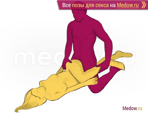 Поза для секса #165 - Лук (мужчина сверху, на коленях, прямой угол). Камасутра Фото, картинки