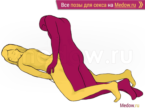 Поза для секса #95 - Зигзаг (догги стайл, женщина лежа на животе, мужчина сзади, мужчина сверху, на коленях). Камасутра Фото, картинки