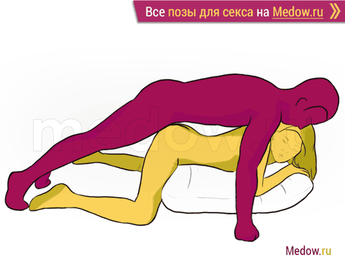 Поза для секса #107 - Абстракция (девушка лежа на животе, догги стайл, мужчина сзади, мужчина сверху). Камасутра Фото, картинки