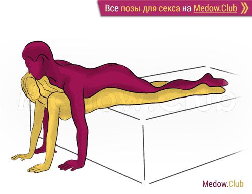 Поза для секса #438 - Ковер-самолет (женщина лежит на животе, мужчина сверху, мужчина сзади). Камасутра Фото, Картинки