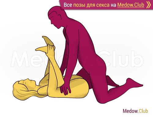 Поза для секса #302 - Брачная ночь (прямой угол, женщина лежа ноги вверх). Камасутра Фото, Картинки